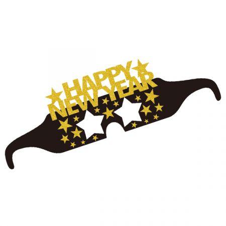משקפיים נייר HNY שנה חדשה זהב 6 יח
