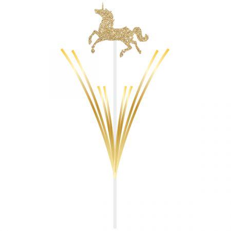 קישוט קיסם עם פרנזים חד קרן זהב